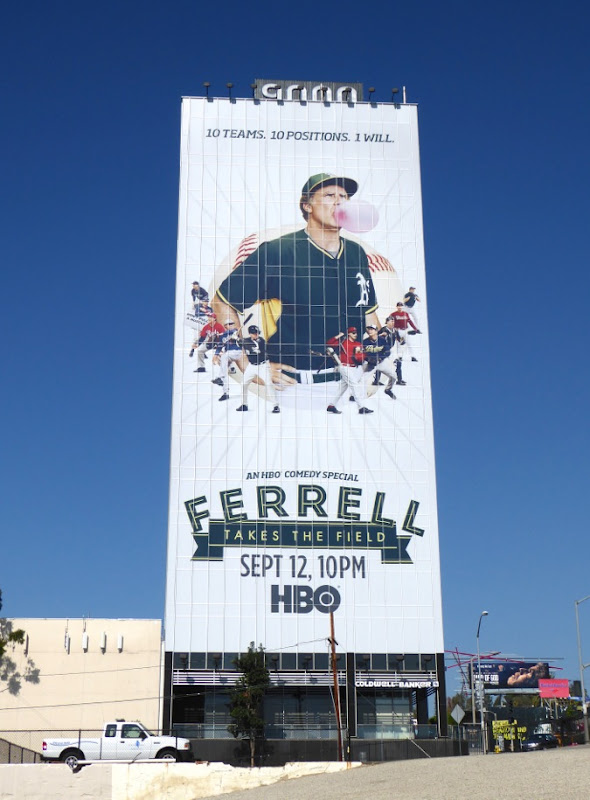 Giant Ferrell Takes the Field comedy special billboard