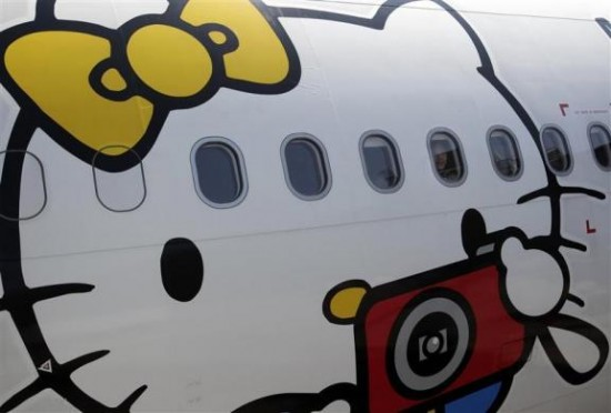 hello kitty plane art