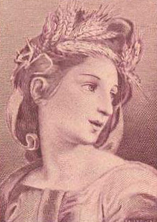 A depiction of Ceres on an Italian banknote