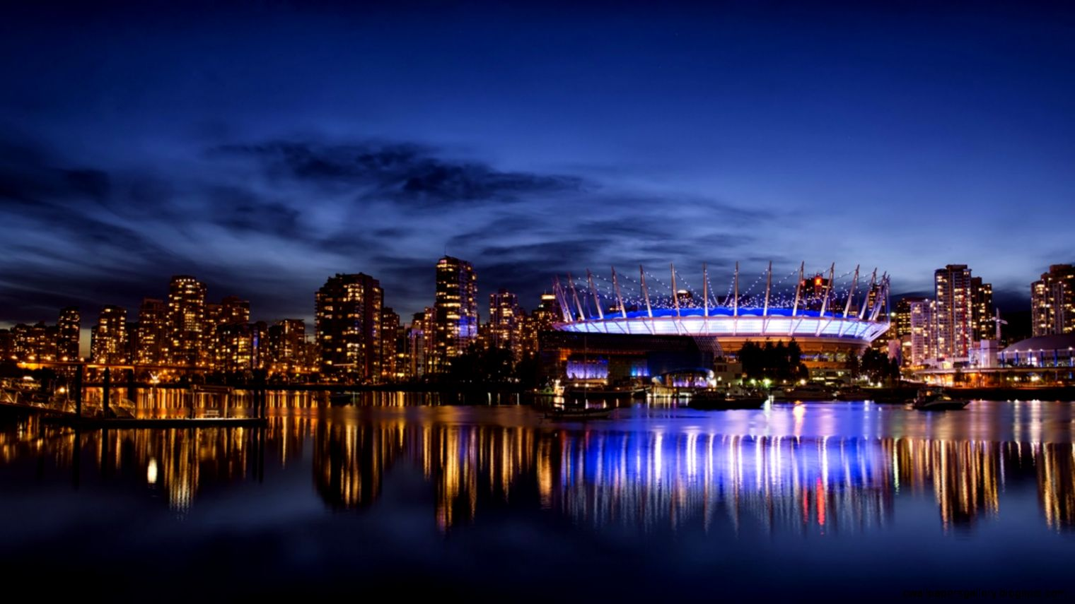 Vancouver City Night Blue Sky Wallpapers   1600x900   380682