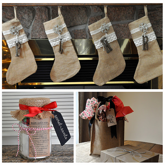 burlap christmas inspiration by Lorrie Everitt for creativebag.com