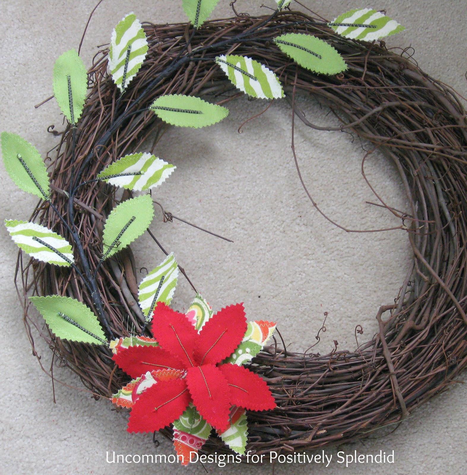 Diy summer fabric flower and leaf wreath tutorial for Diy summer wreath