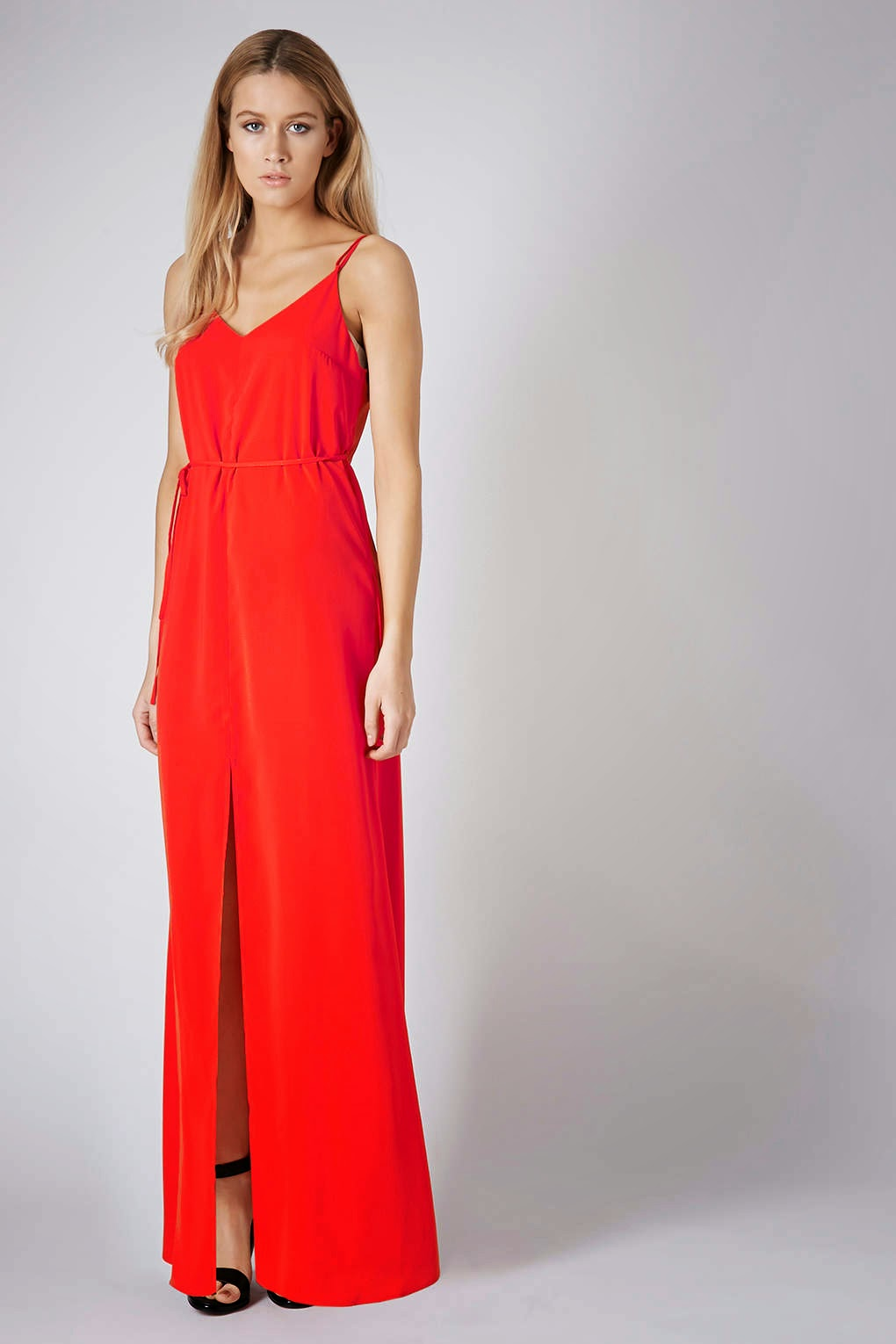 red strappy maxi dress