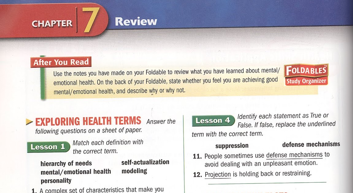 MCSM Health: Week#7: Ch 7, 8 Mental Health (part 1)