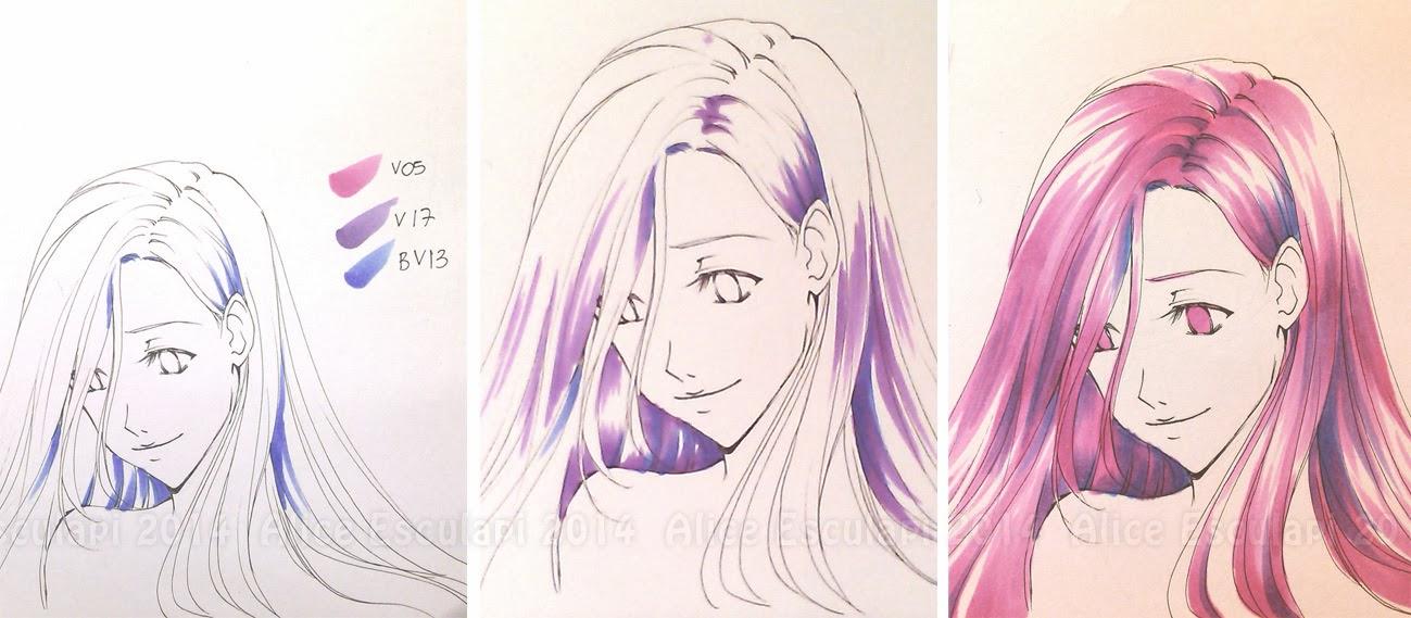 Copic italia tutorial come colorare i capelli in stile for Disegni facili da disegnare a mano libera