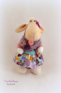 Текстильная овечка Розочка