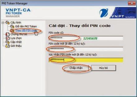 Cài đặt mật khẩu cho chữ ký số VNPT