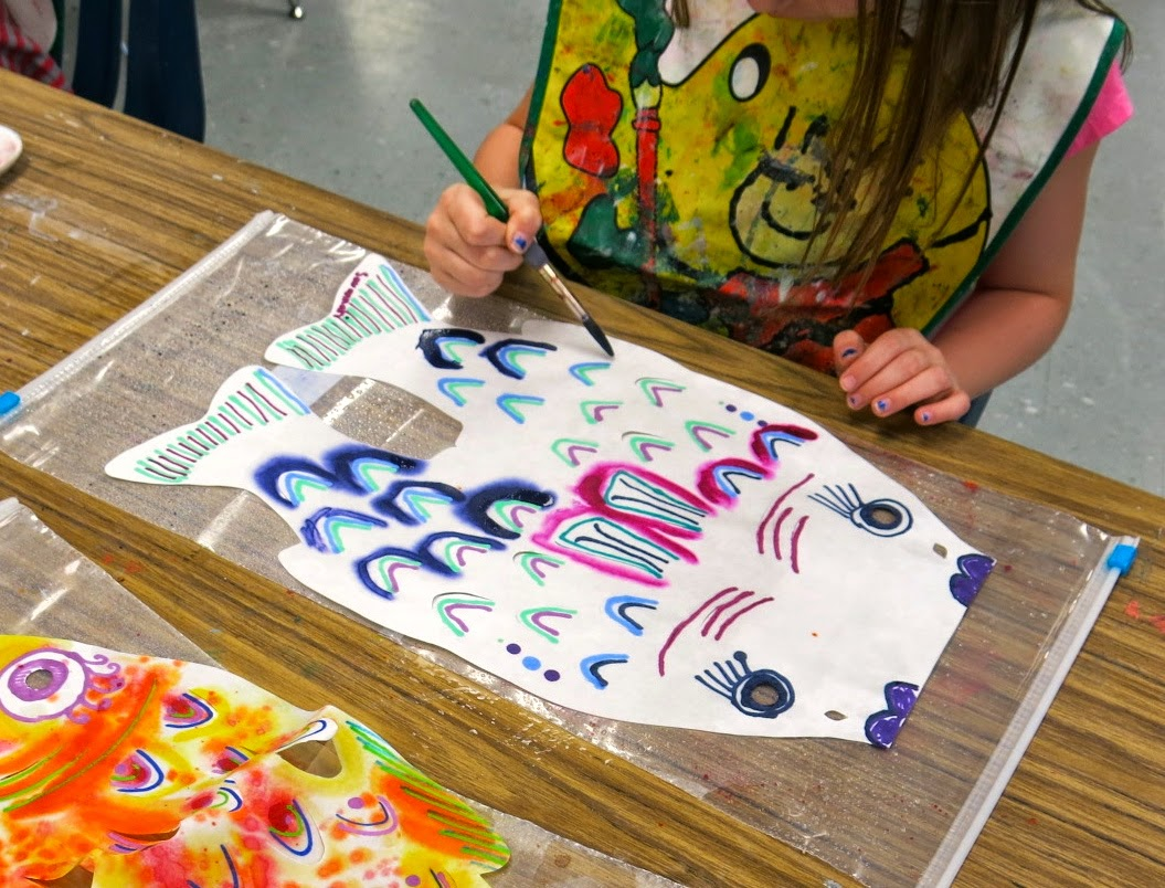 Cassie stephens in the art room first grade koinobori for Koi fish kite