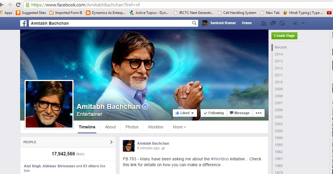 Amitabh Bachchan page at Facebook