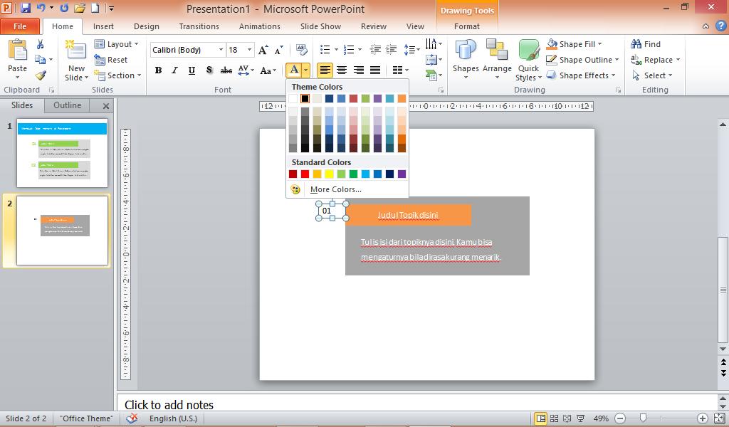 Cara membuat angka di Powerpoint dengan textbox