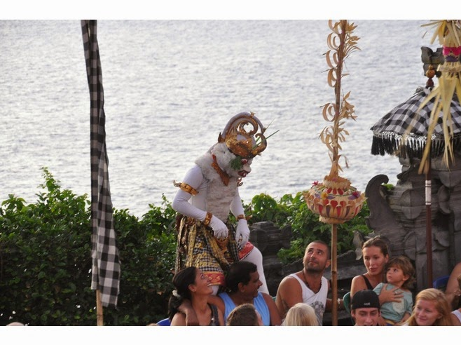 comedy in the demo past times depicting Hanuman every bit monkey with monkey similar direct Beaches in Bali: Kecak Dance of Uluwatu Temple: Bali