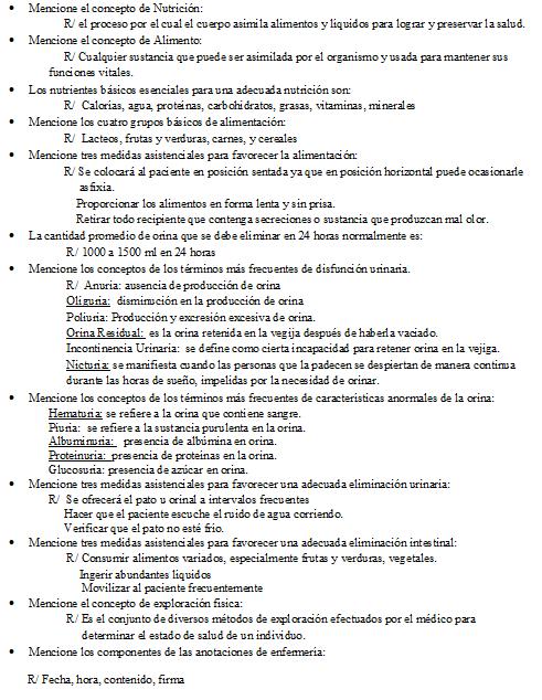 Baño De Regadera Fundamentos De Enfermeria:FUNDAMENTOS DE ENFERMERIA: Preguntas de Examen
