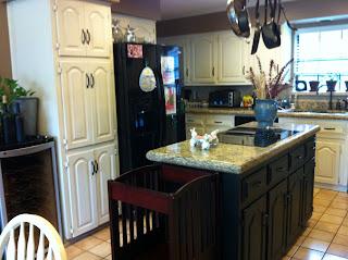 Cream Cabinets and Black Island Kitchen Update