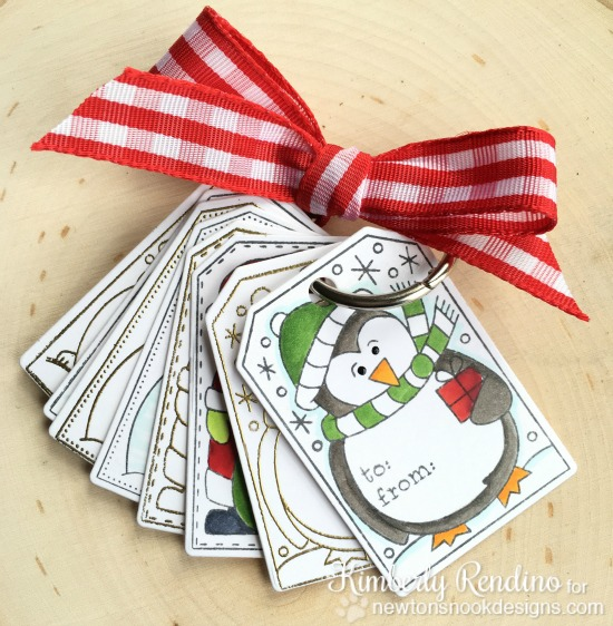 Holiday Tag set by Kimberly Rendino | Jolly Tags Stamp and Die Set by Newton's Nook Designs #newtonsnook