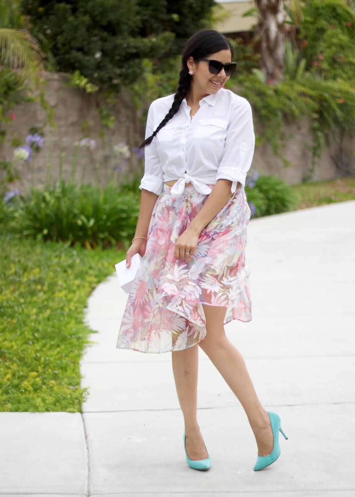 mint heels outfit, lulus mint heels, shop loeil skirt, pastel skirt, floral pastel skirt, floral midi skirt