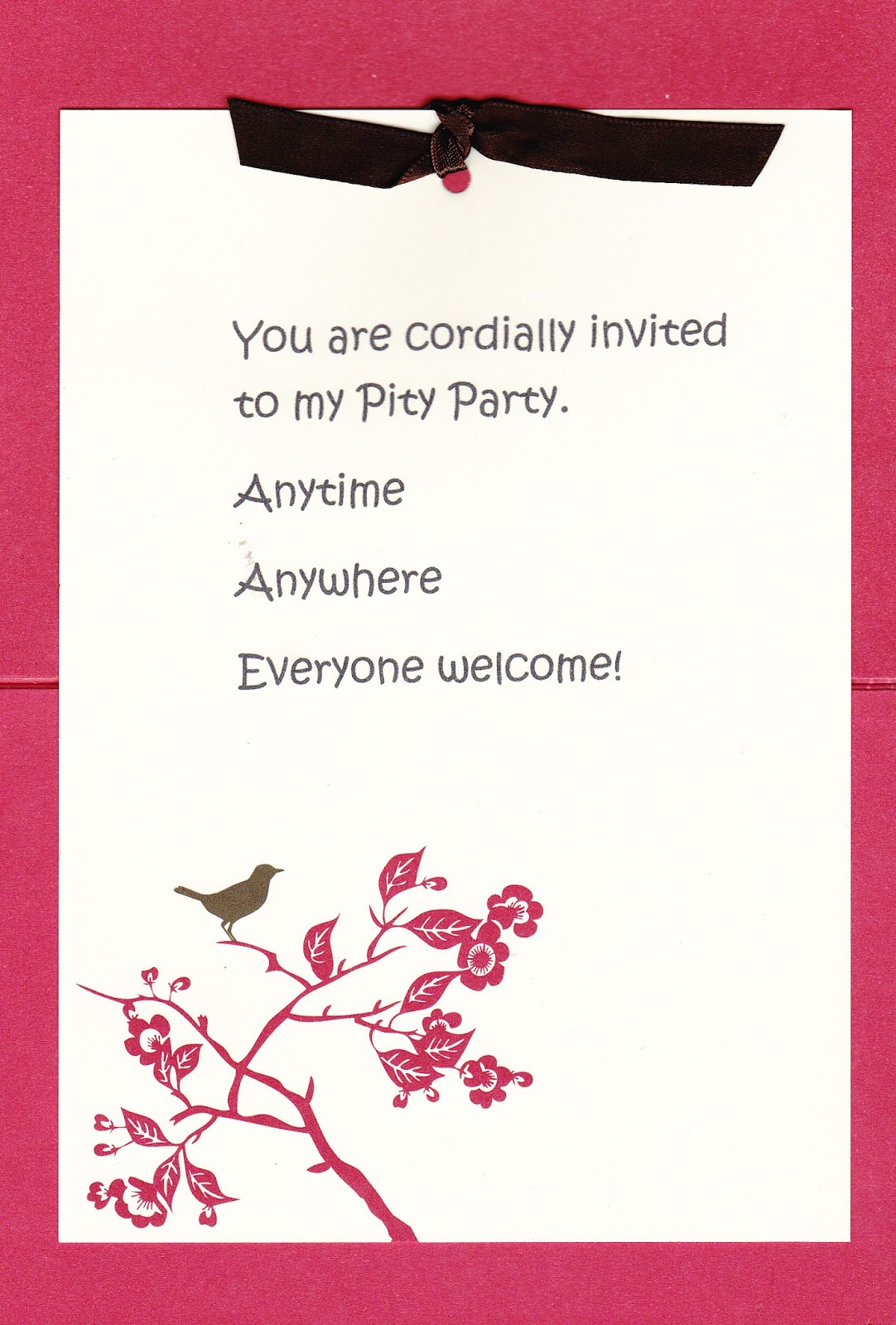 This Is a Story About: You Are Cordially Invited to My Pity Party