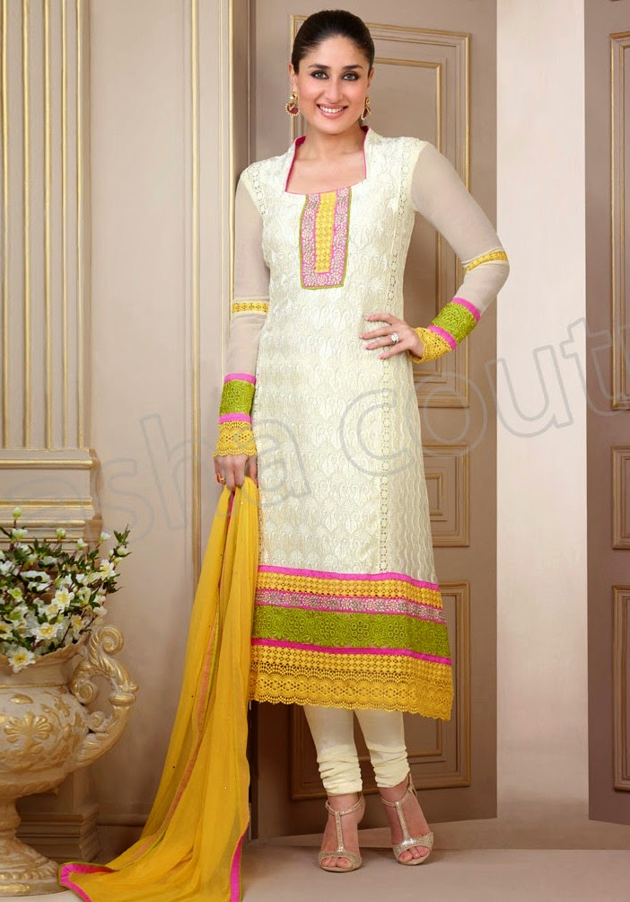 Semi georgette salwar suits 2014 2015 kareena kapoor for Girls suit design