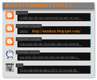 Recent comment với thumbnail dẹp blogger (v2)