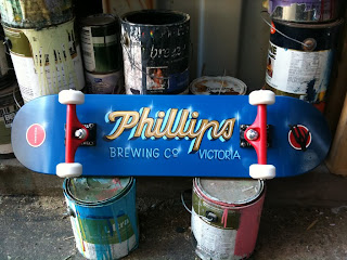 Phillips brewery hand painted skateboard  dobell signs north america