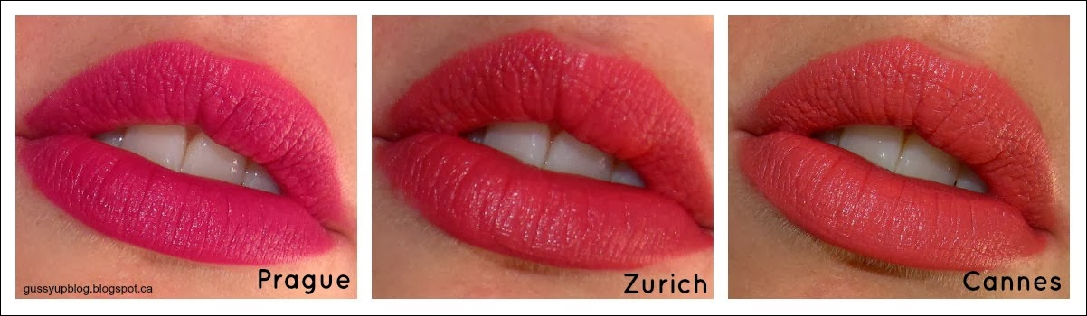 Review and Swatches: NEW! NYX Soft Matte Lip Creams, Prague, Cannes and Zurich