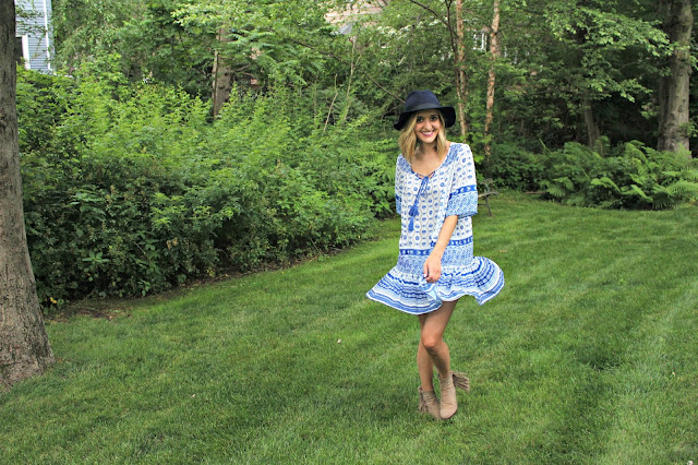 shein blue tribal print dress