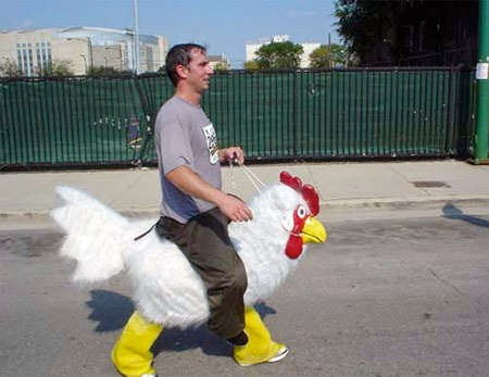 Man Riding Chicken Costume