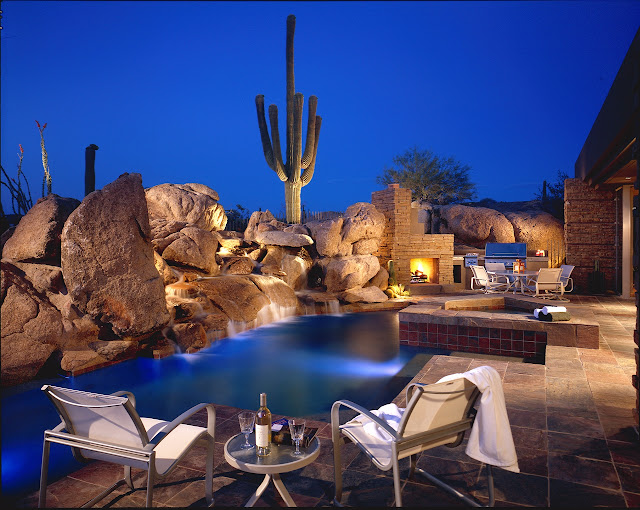 Picture of luxury terrace with swimming pool surrounded with rocks