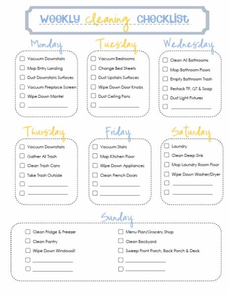 printable household chore chart