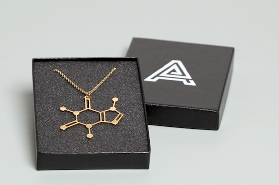 Aroha Silhouettes Gold Plated Caffeine Molecule Necklace