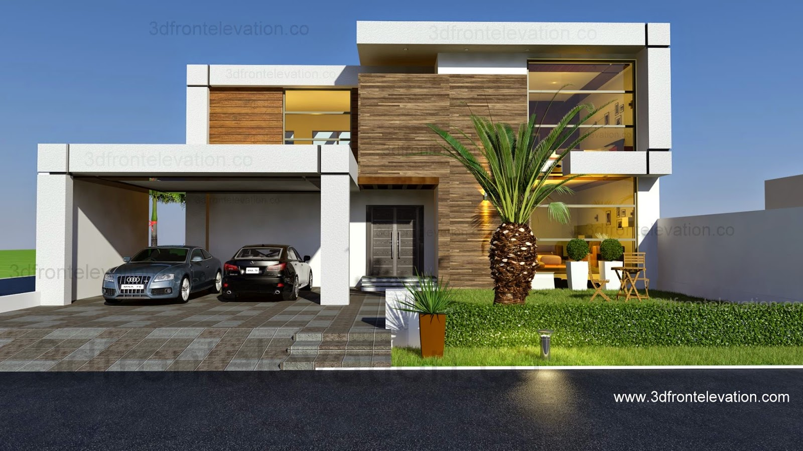 3d front beautiful contemporary house for Front elevation modern house