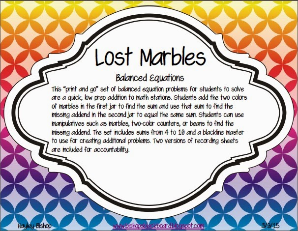 https://www.teacherspayteachers.com/Product/Lost-Marbles-Balancing-Equations-1755691