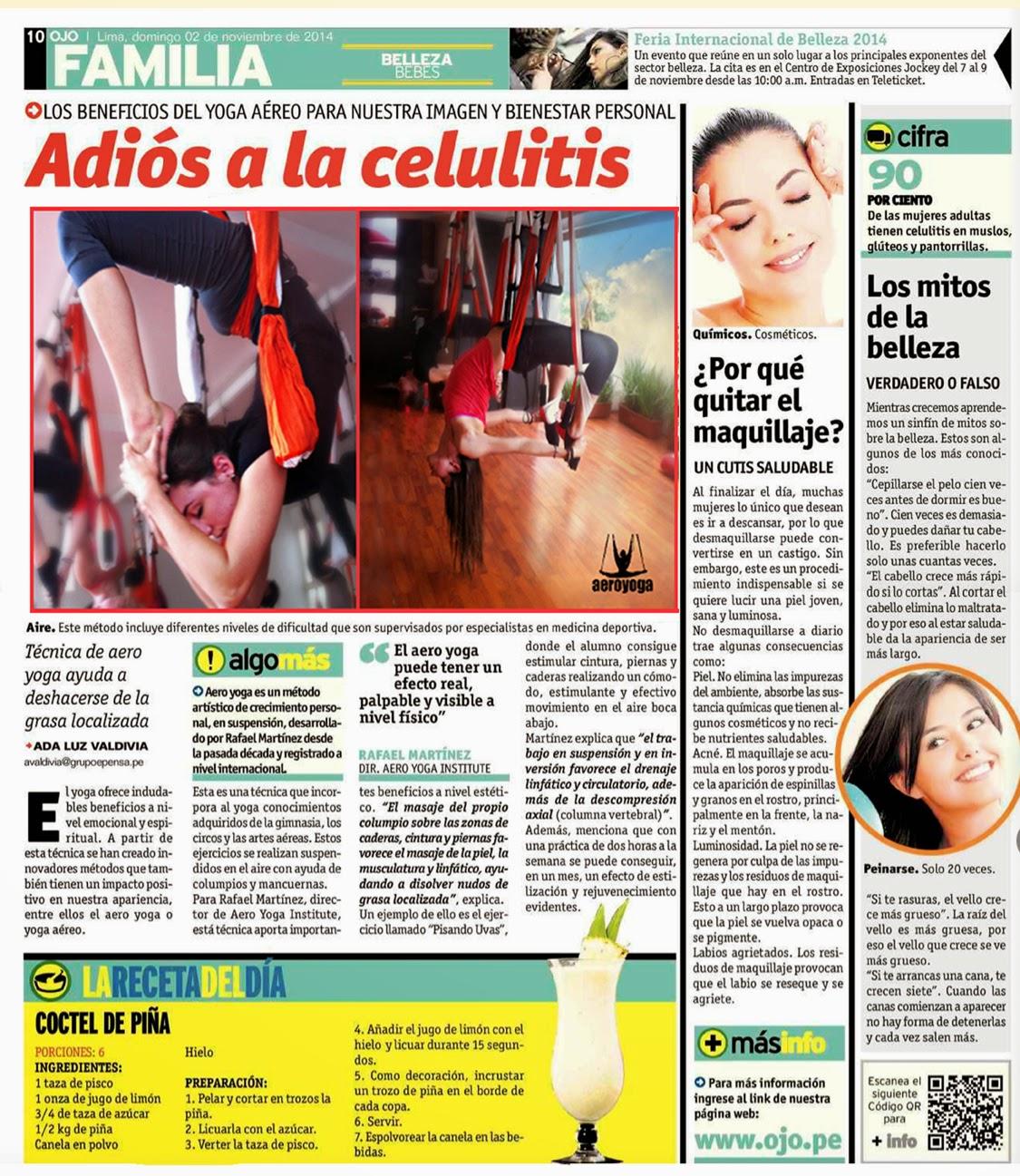 Yoga Aereo en prensa y TV