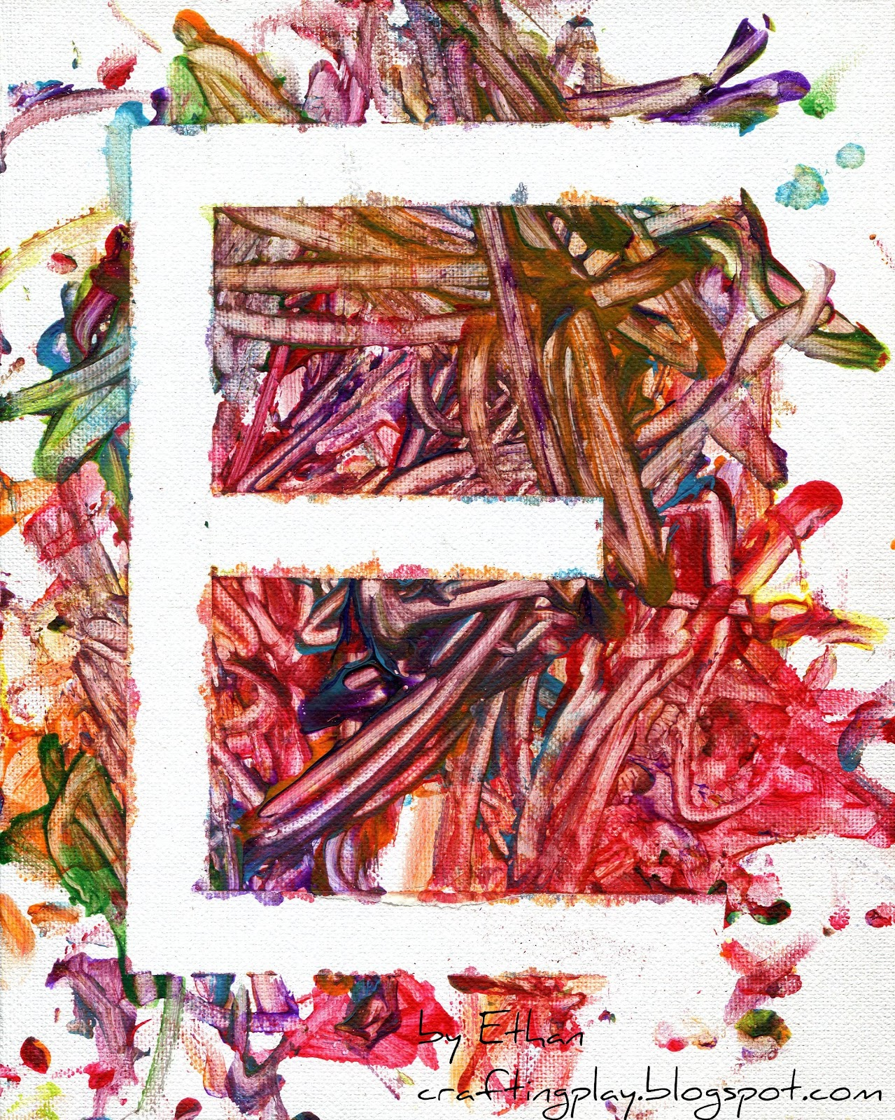 Q-tip and Finger Painting Letters on Canvas