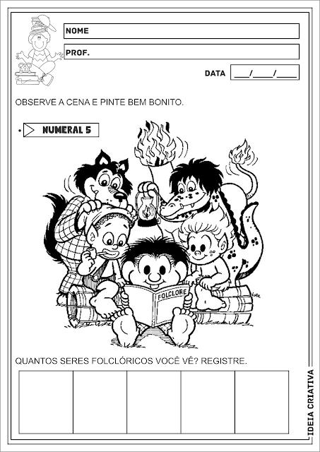 Numeral 5 Folclore Atividade Educação Infantil