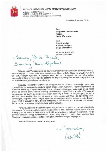 List wiceprezydenta Warszawy do prezesa Legii - źródło Legia Warszawa
