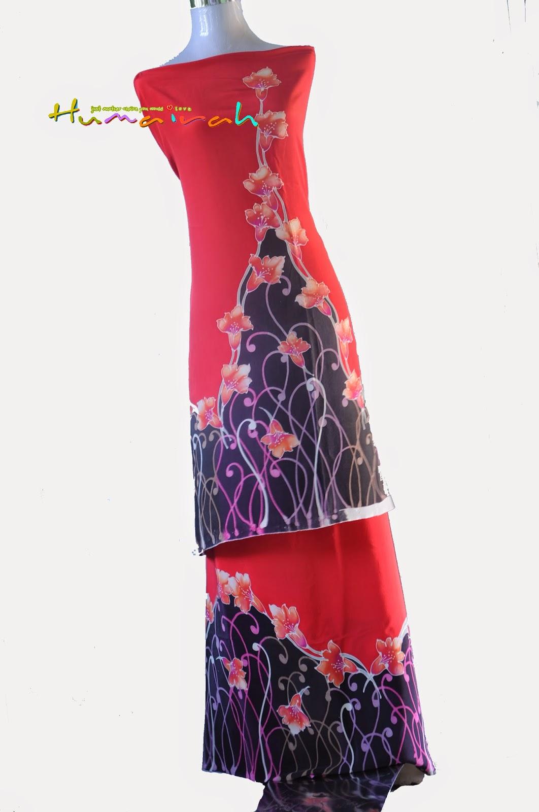 CX80 Batik Sutera Exclusive - Bunga Menaik Merah dan Hitam 2