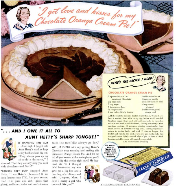 Dying for Chocolate: CHOCOLATE ORANGE CREAM PIE: Retro Recipe & Ad