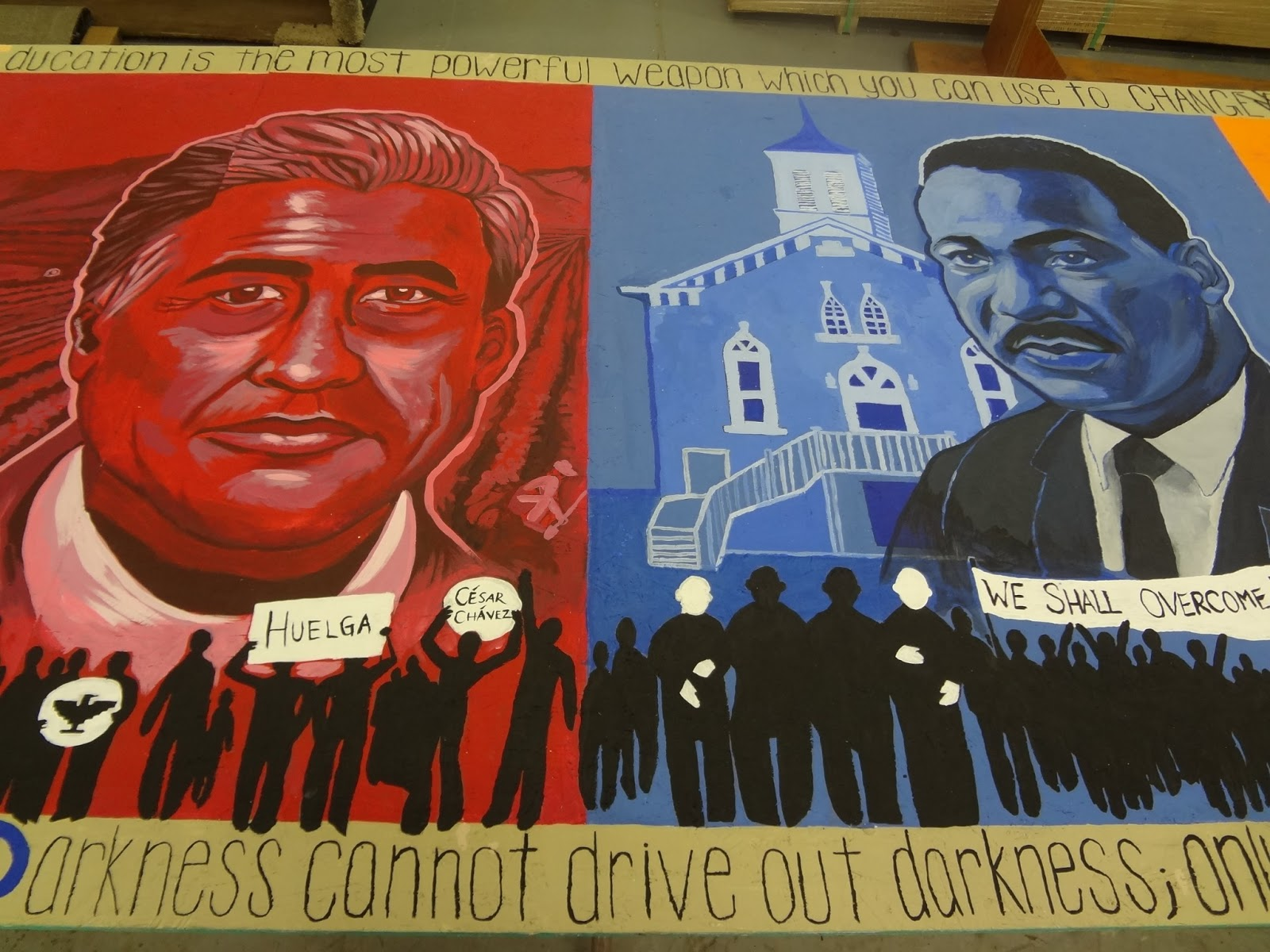 The talking walls jchs civil rights mural finished for Cesar chavez mural