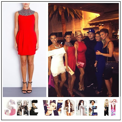 Lucy Mecklenburgh, TOWIE, Forever Unique, Bright Red, Sleeveless, Tulip Dress, Crystal, Gem, Bead, Embellishment, Neckline Embellishment, The Only Way Is Essex,