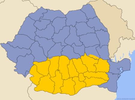 Romanya üzerinde Eflak (sarı renkli bölge)