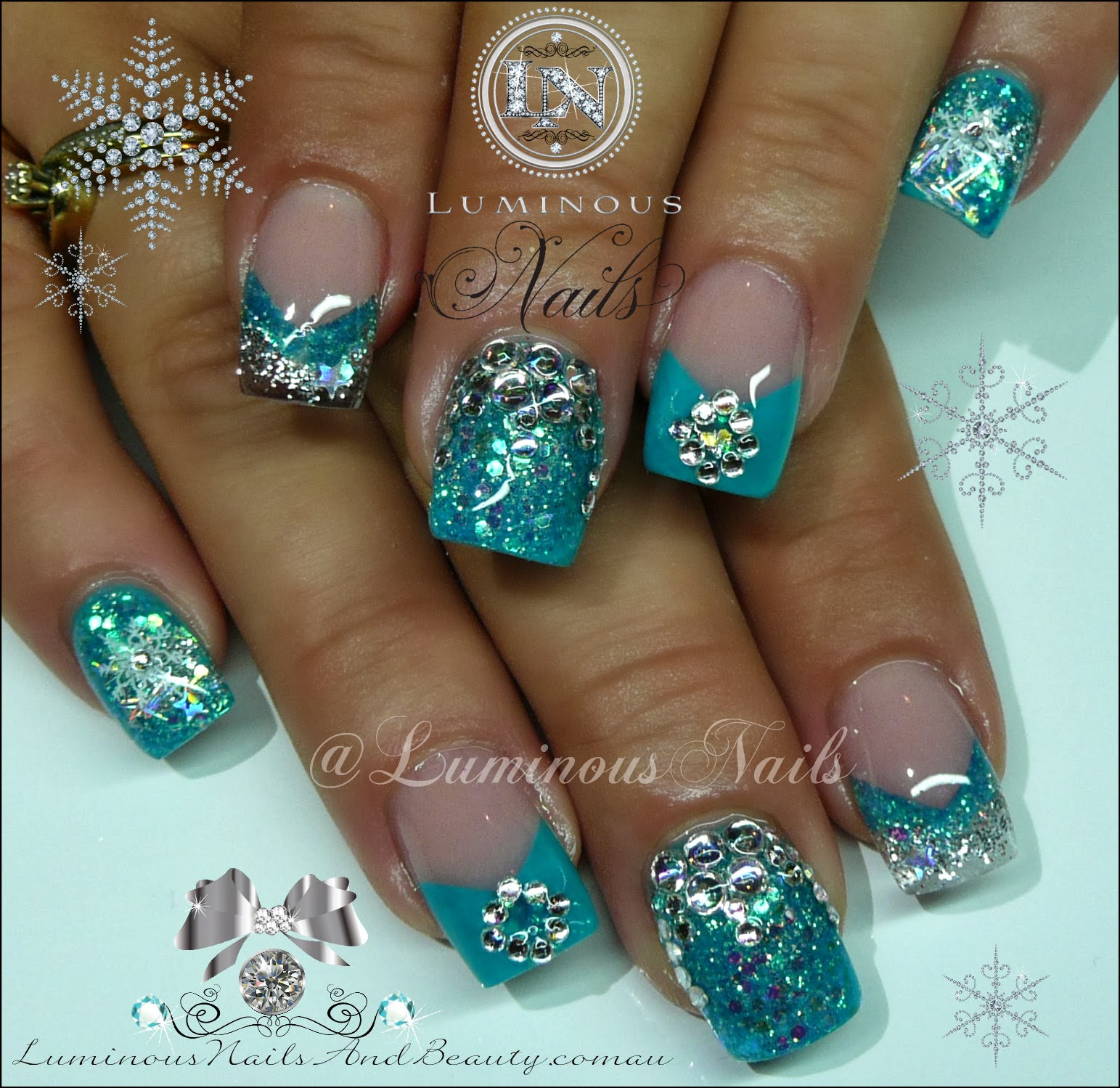 Turquoise Silver Nails With