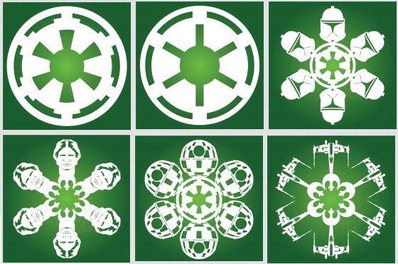 """Ещё один набор шаблонов снежинок и трафаретов для фанатов """"Звёздных войн"""""""