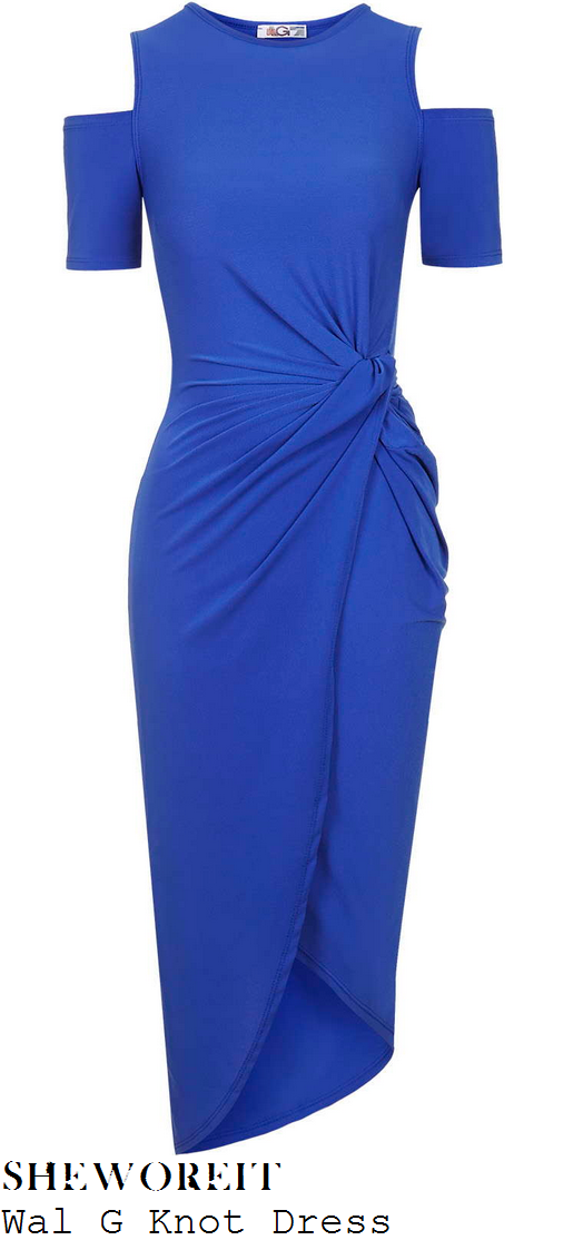 danielle-armstrong-bright-blue-cold-shoulder-knot-wrap-midi-dress-towie-marbs
