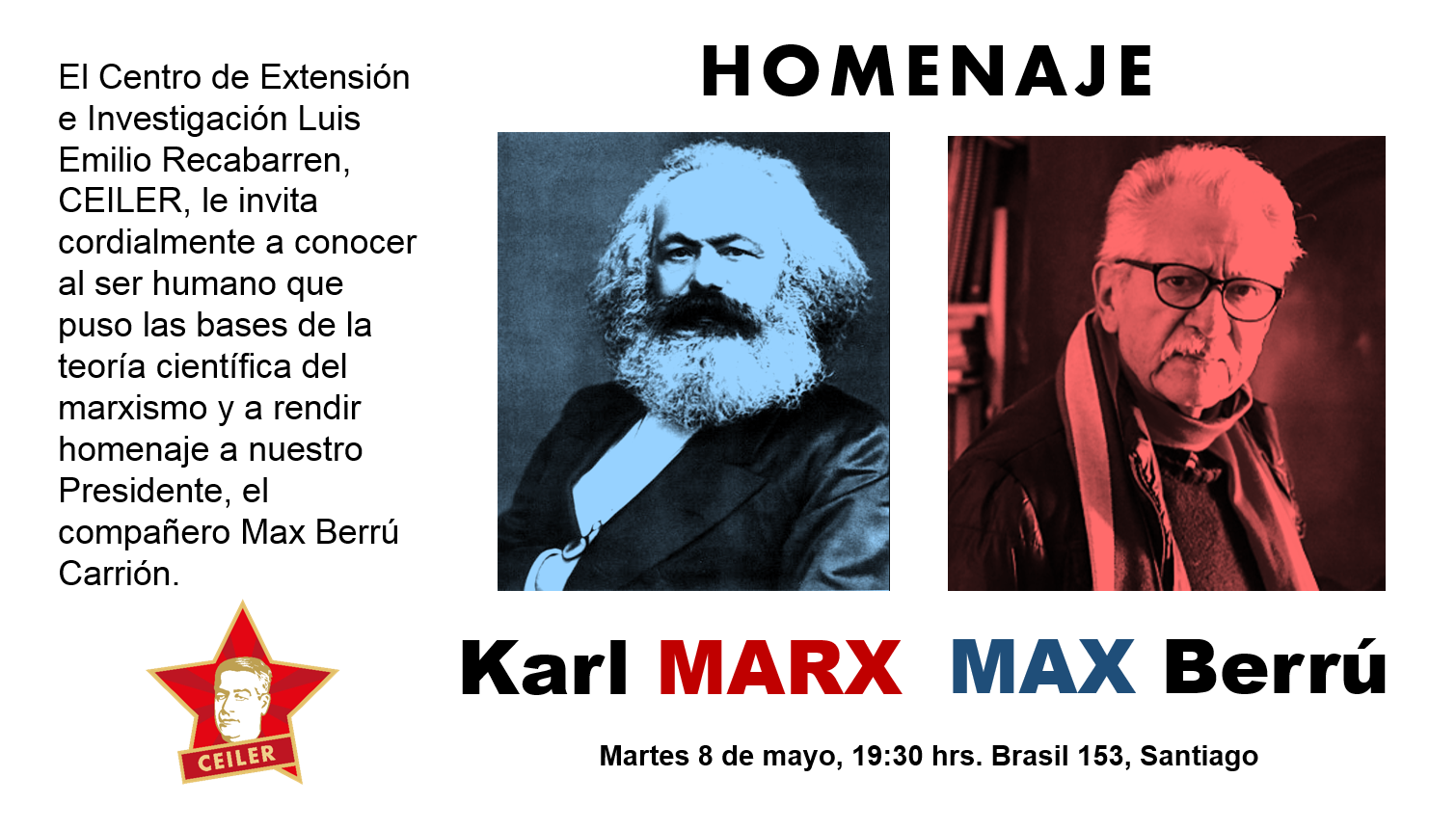 Homenaje a Karl Marx y Max Berrú