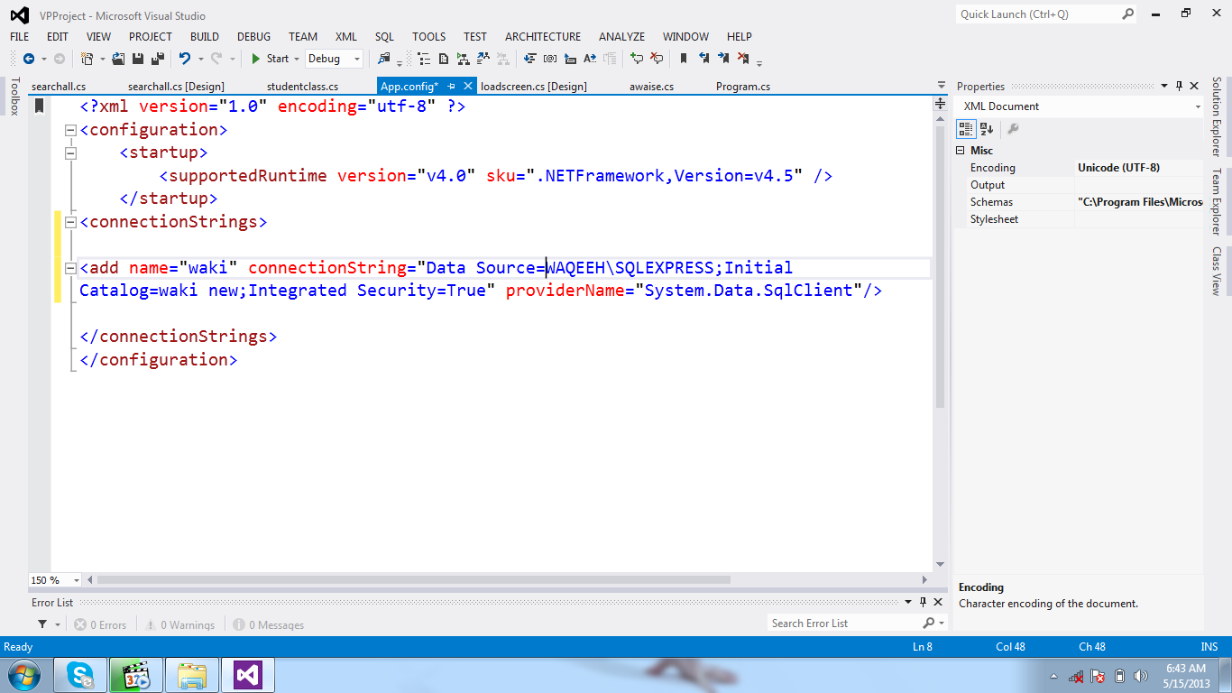 How to make connection visual studio with sql server