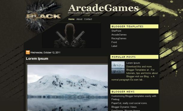 Free Black Yellow Games Blogger Theme Template