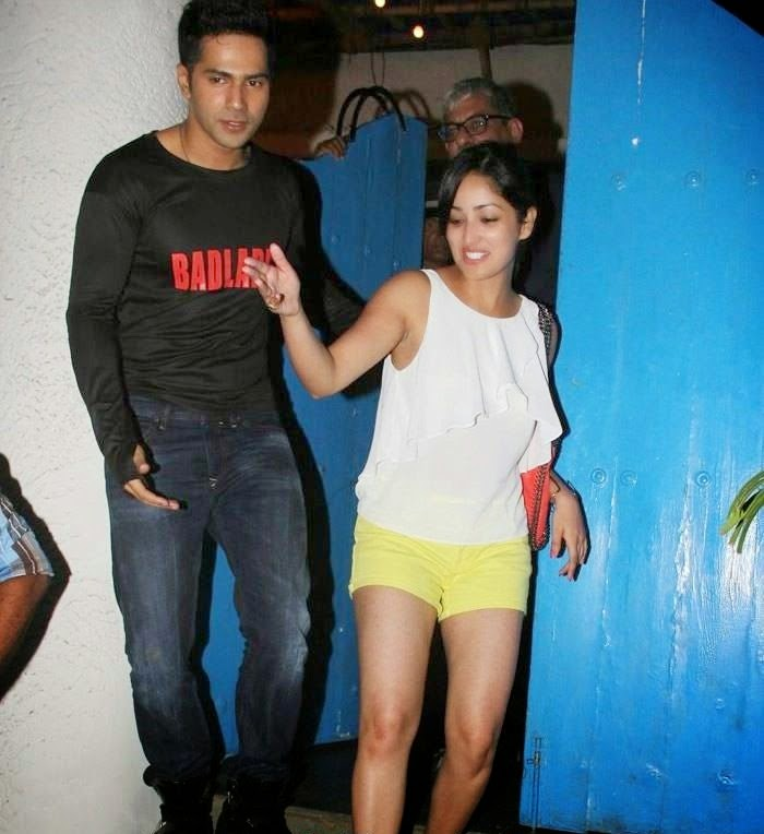 yami gautam varun dhawan hot scene pics spotted at screening yellow shorts