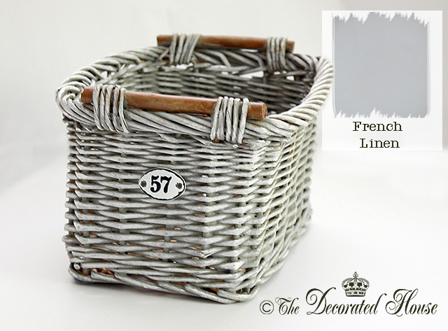 The Decorated House :: DIY French Linen Chalk Paint Basket Makeover
