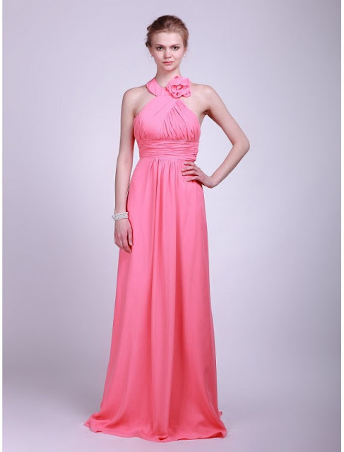 Chiffon Halter Neckline A-Line Vintage Bridesmaid Dress with Rouched Bodice