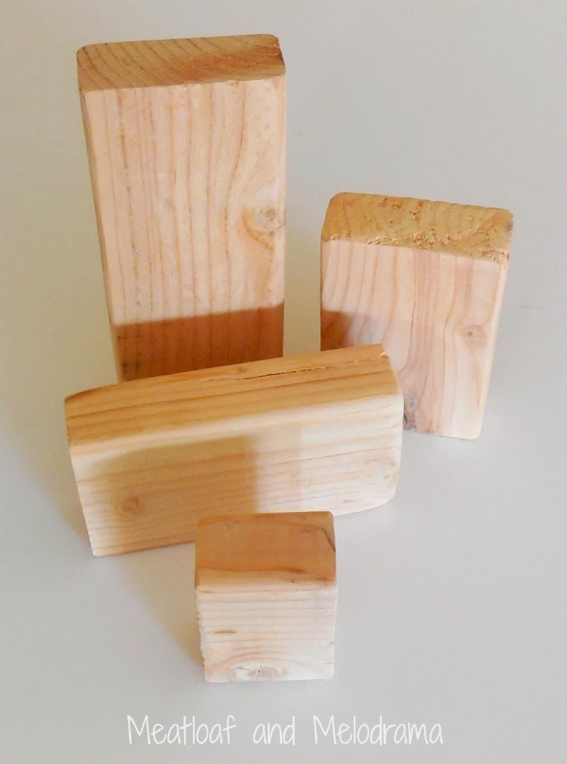 four wood blocks from a 2 X 4 piece of wood
